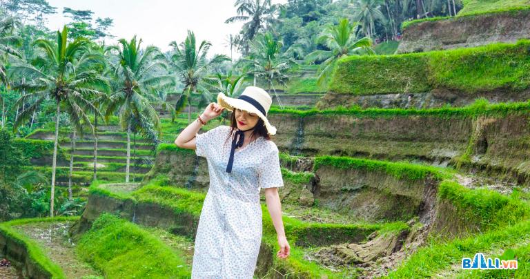 Cô gái trẻ Việt Nam check in ruộng bậc thang Bali